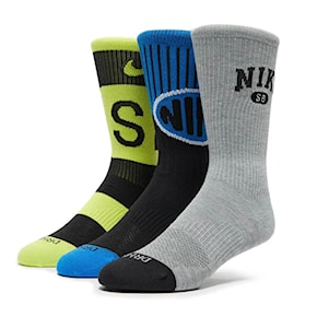Socks Nike SB Everyday Max Lightweight Crew grey/lime/blue 2021