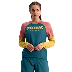 Mons Royale Wms Tarn Freeride LS Wind deep teal/pink clay/honey